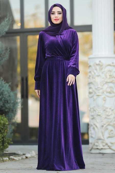 Purple Hijab Evening Dress 11030MOR