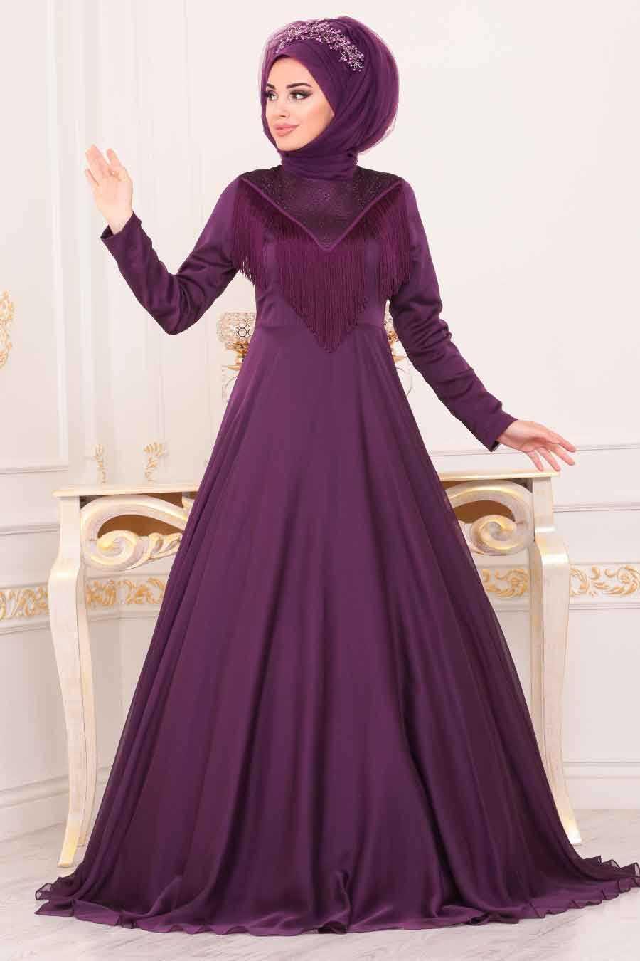 Puskullu Mor Tesettur Abiye Elbise 3894mor Neva Style Com