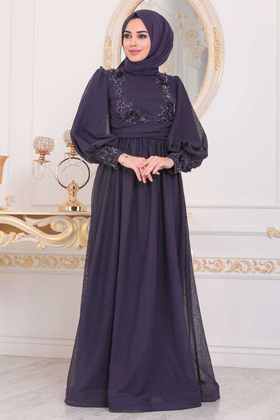 Purple Hijab Evening Dress 40302MOR