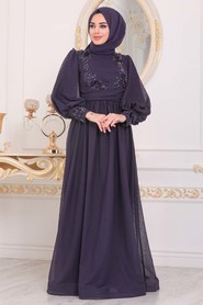 Purple Hijab Evening Dress 40302MOR - Thumbnail