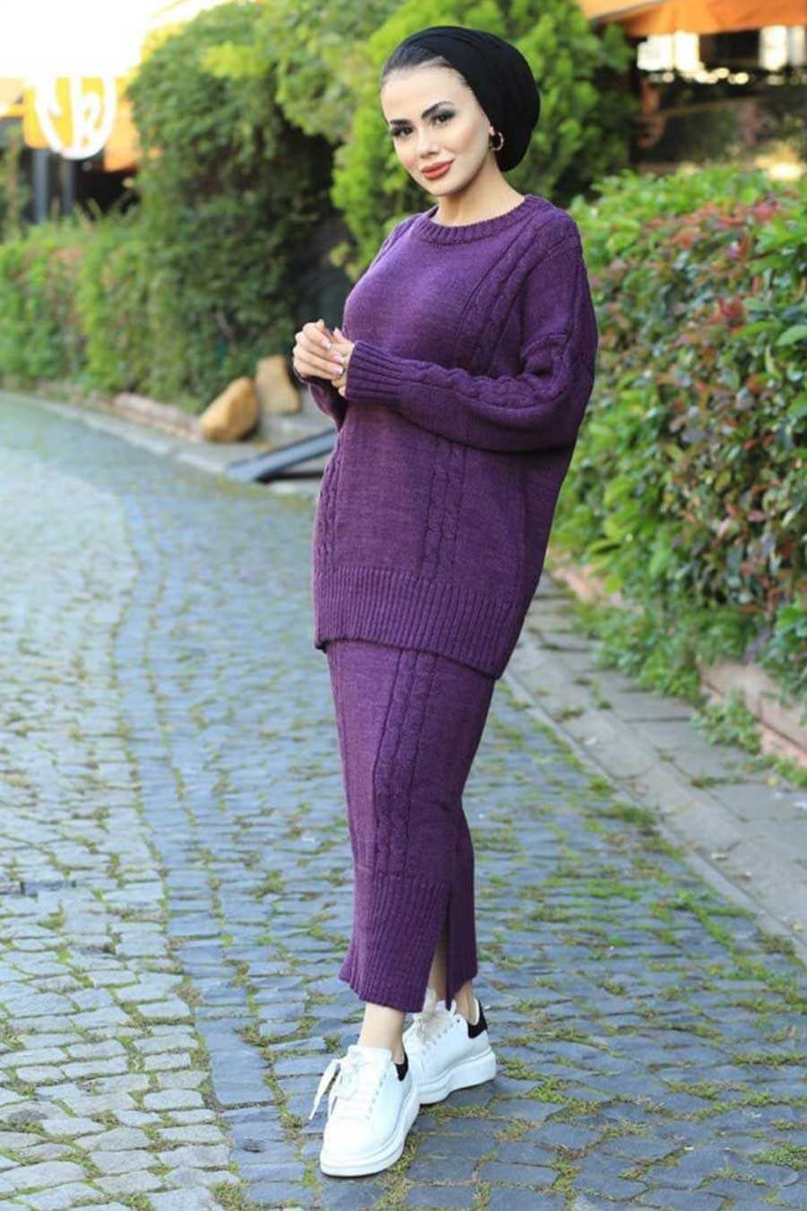 Purple Hijab Knitwear Suit 6010MOR