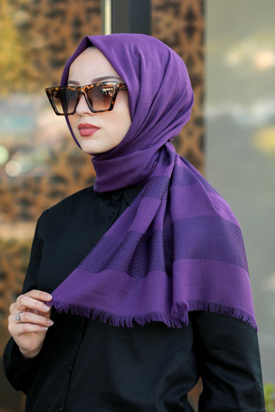 Purple Hijab Shawl 7532MOR