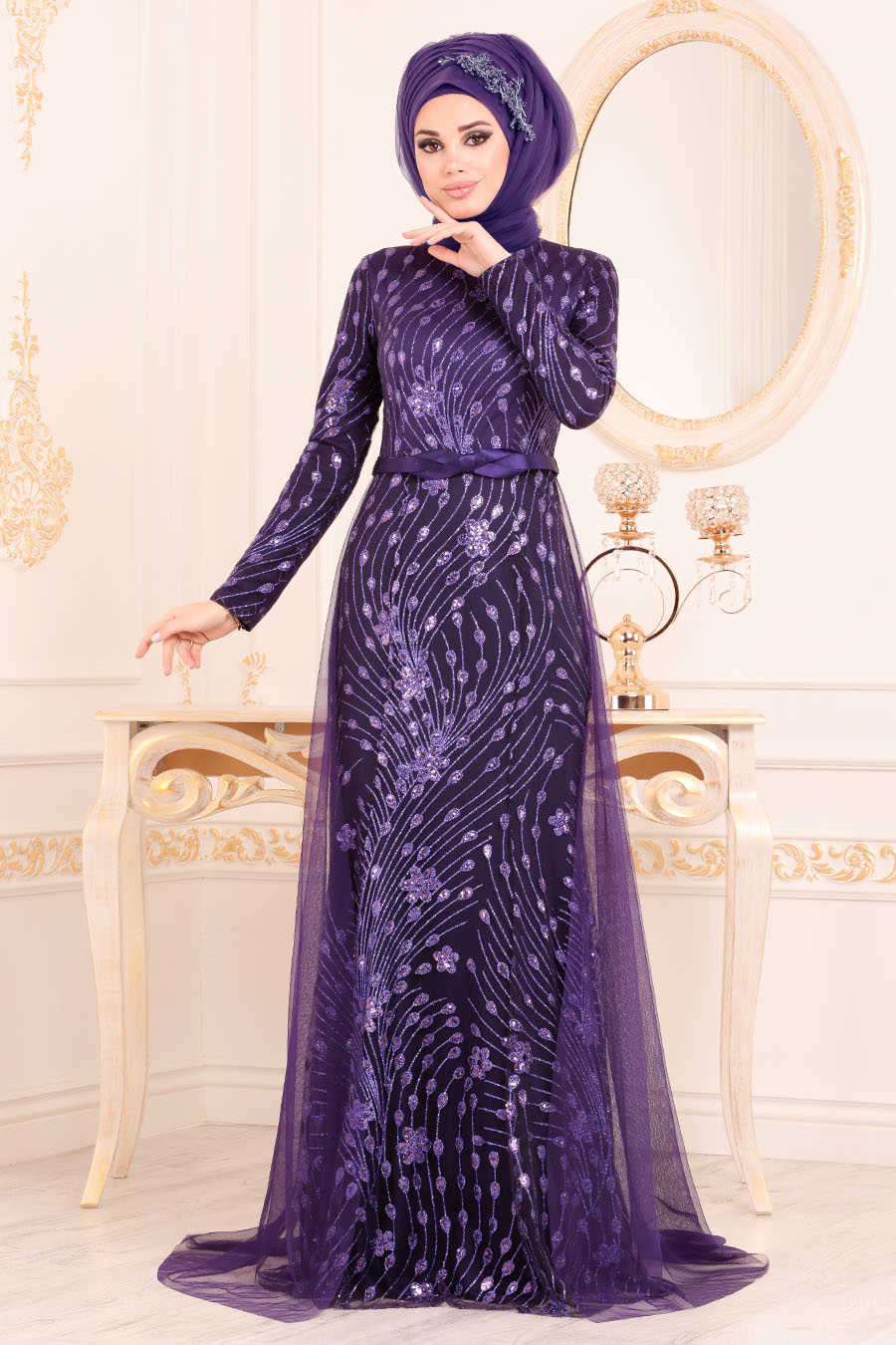 Purple Hijab Evening Dress 20872MOR