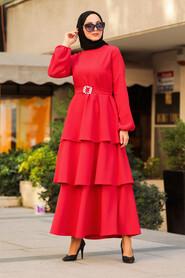 Red Hijab Dress 1283K - Thumbnail