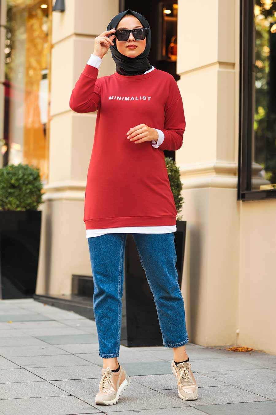 Red Hijab Sweatshirt & Tunic 1144K