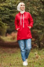Red Hijab Tunic 1385K - Thumbnail