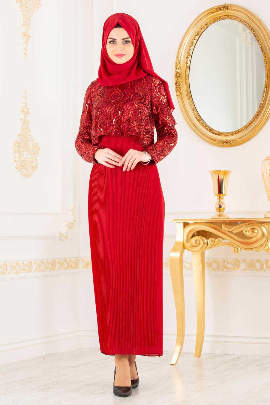 Red Hijab Evening Dress 3743K