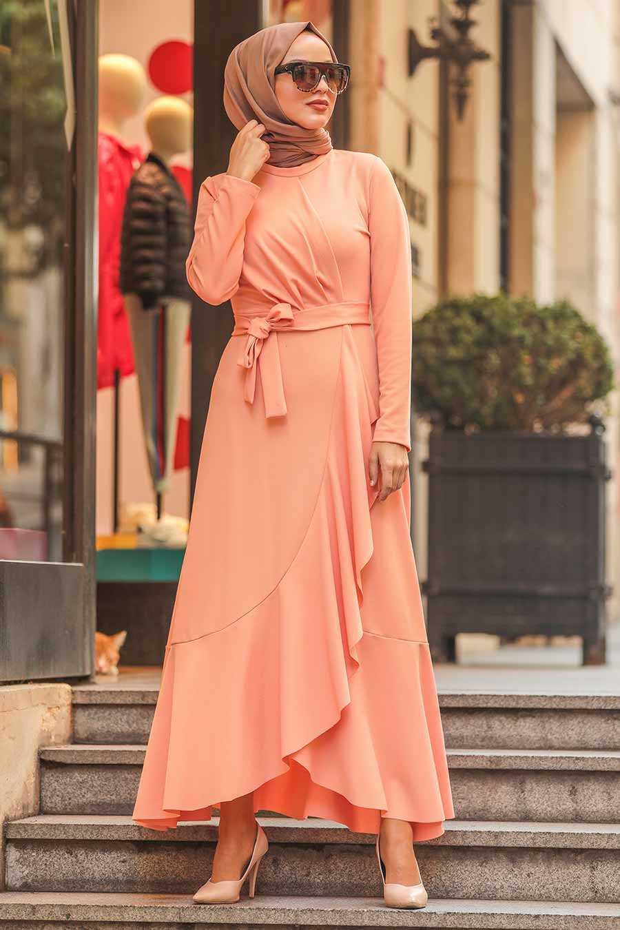 Salmon Hijab Dress 4041SMN