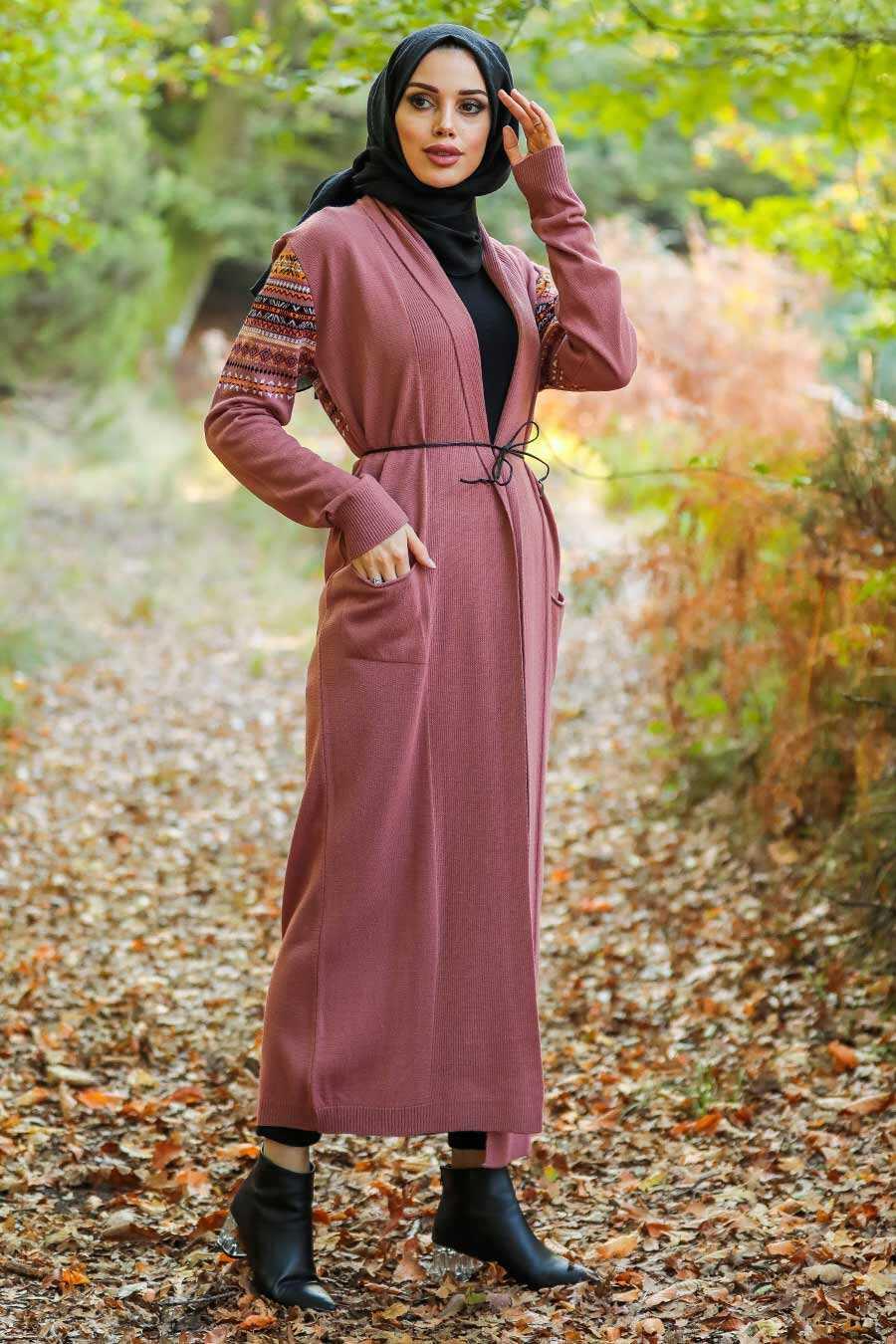Salmon Pink Hijab Cardigan 15725SMN