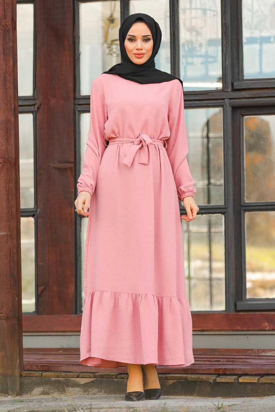 Salmon Pink Hijab Dress 1441SMN