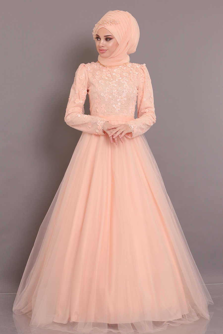 Salmon Pink Hijab Evening Dress 184802SMN
