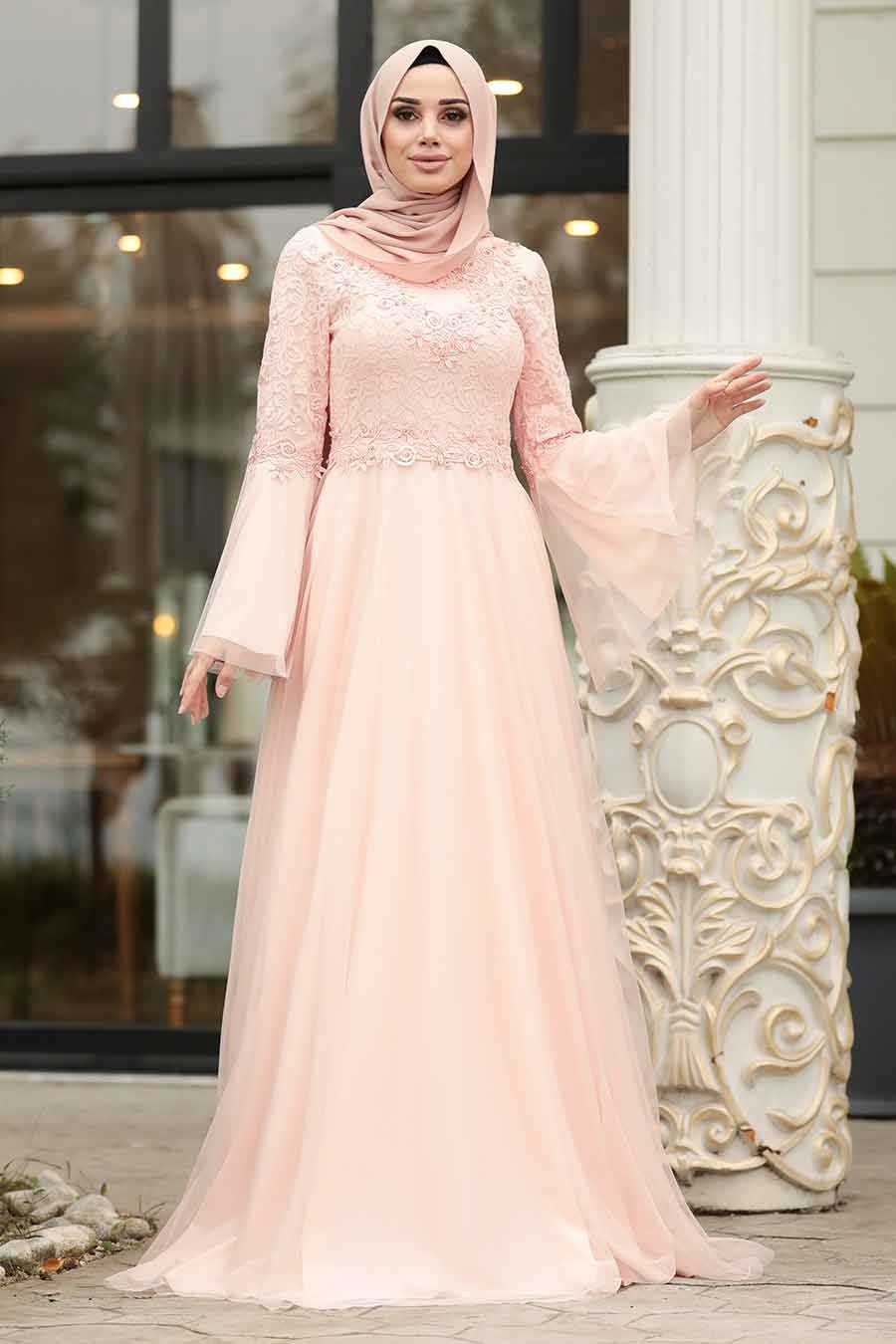 Salmon Pink Hijab Evening Dress 20571SMN