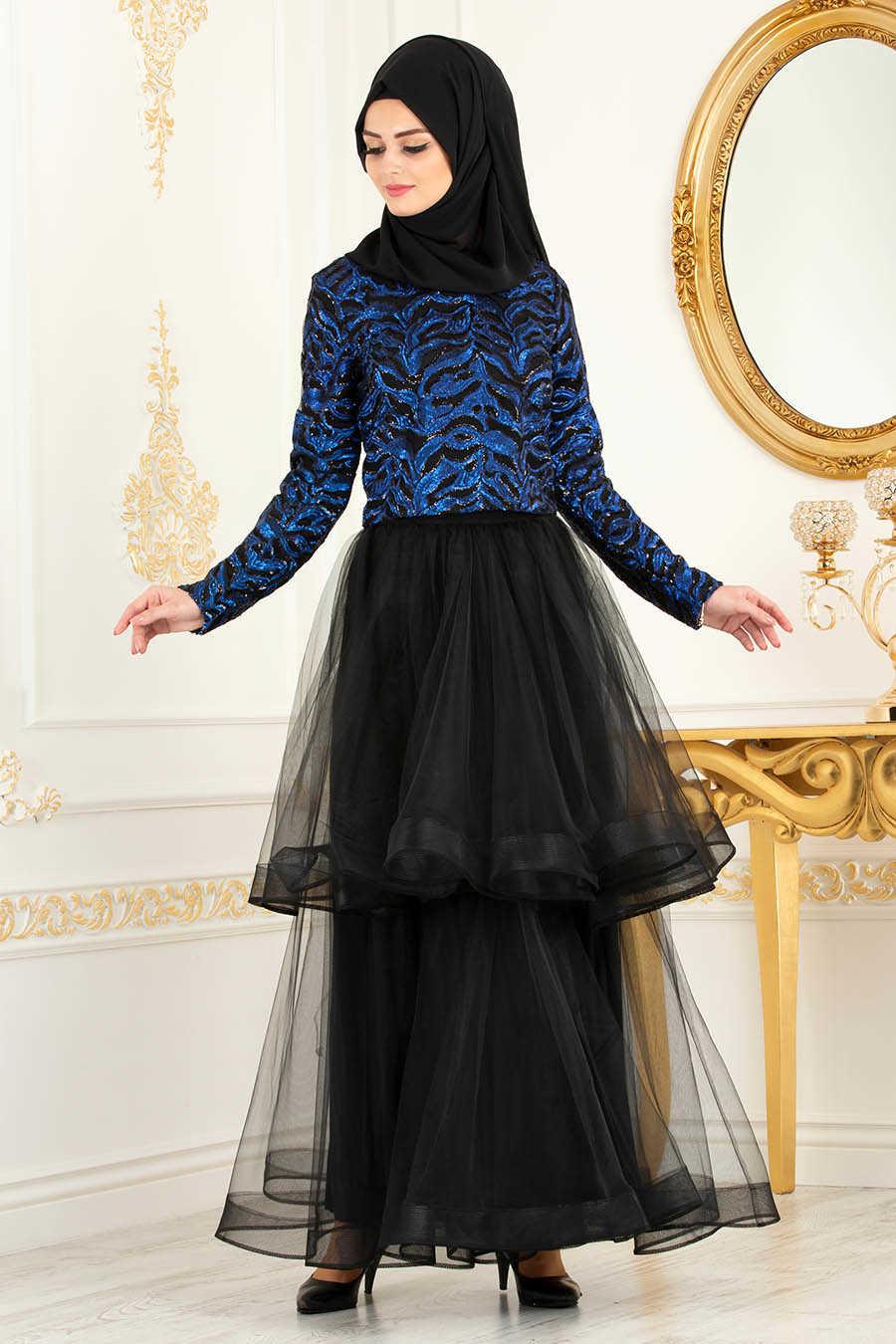 Sax Blue Hijab Evening Dress 37110SX