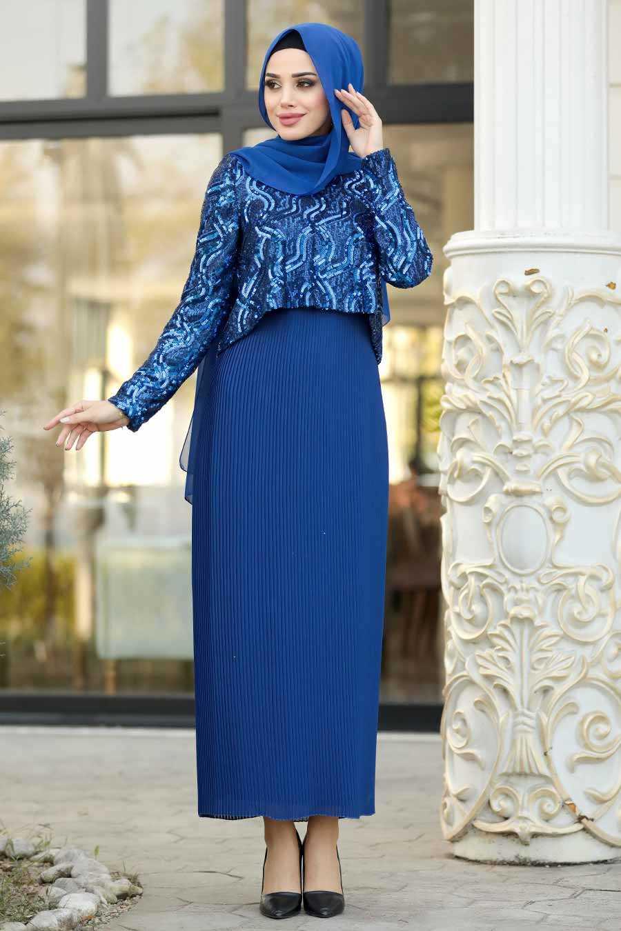 Sax Blue Hijab Evening Dress 3743SX