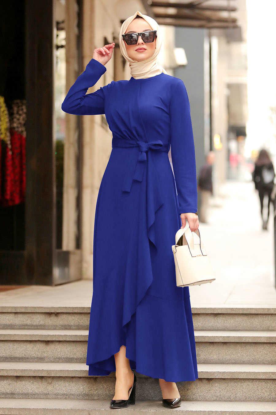 Sax Mavisi Tesettür Çapraz Elbise 4041SX