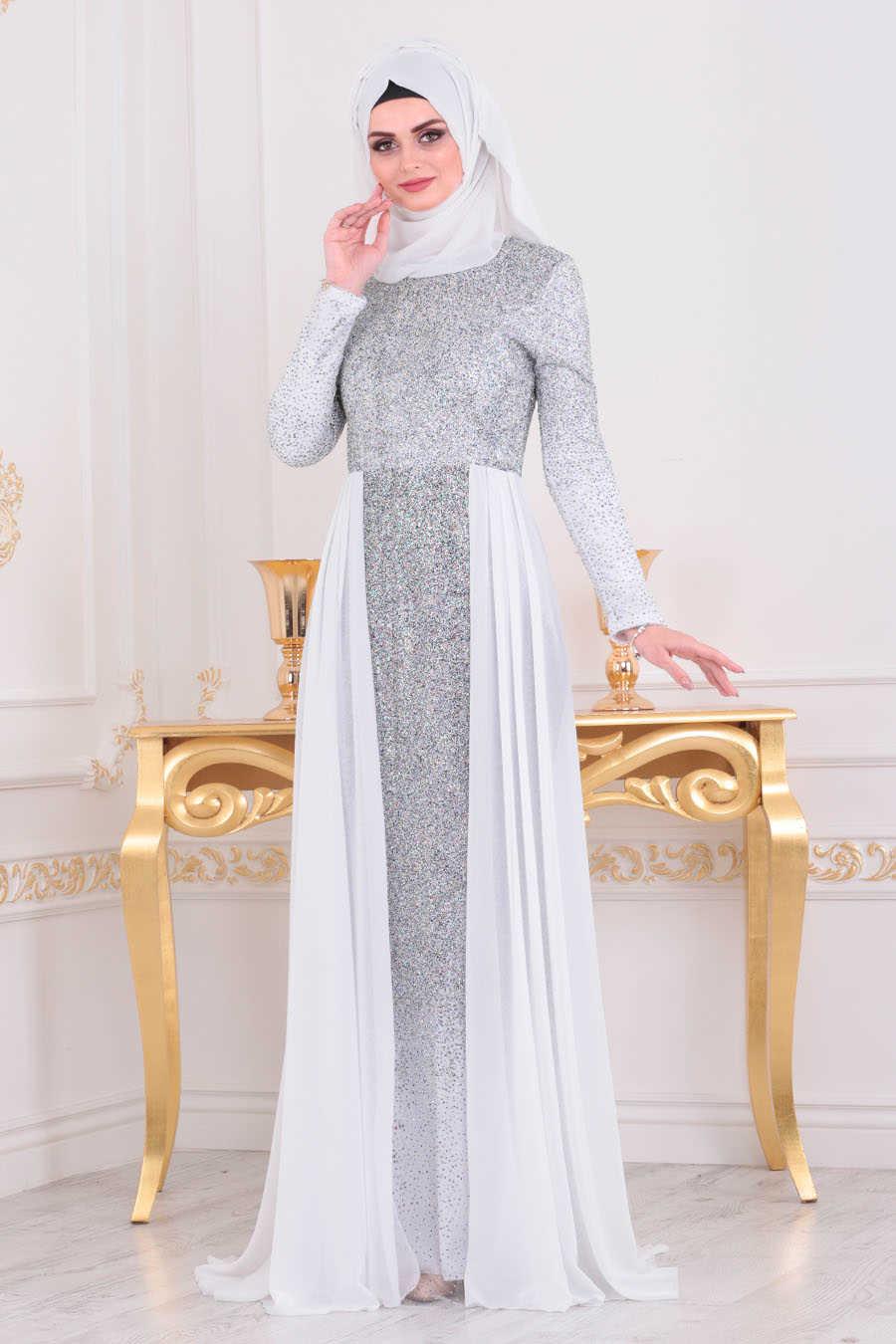 Simli Beyaz Tesettür Abiye Elbise 90020B