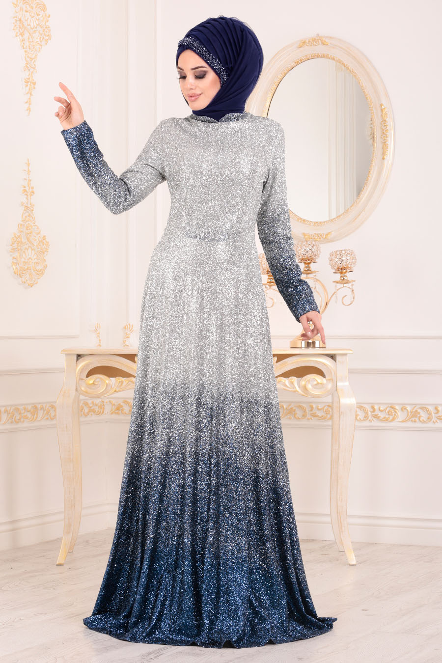 Simli İndigo Mavisi Tesettür Abiye Elbise 8508IM
