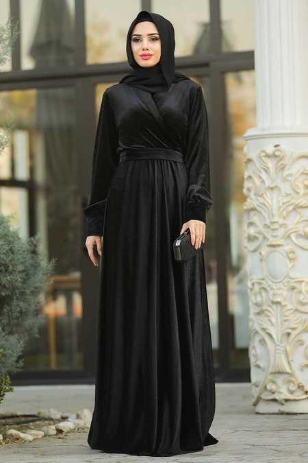Simli Kadife Siyah Tesettür Abiye Elbise 11030S