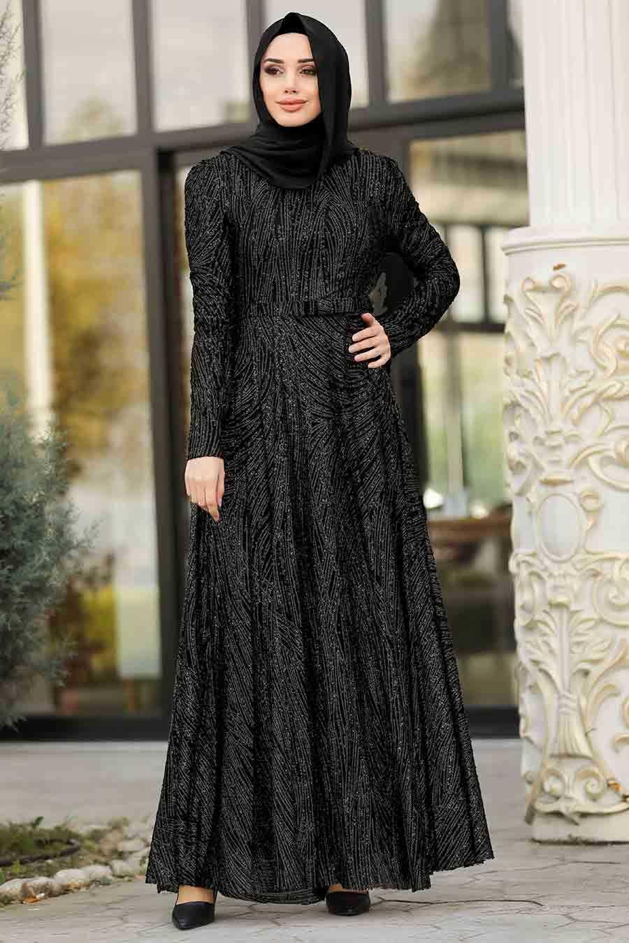 Simli Siyah Tesettür Abiye Elbise 8665S