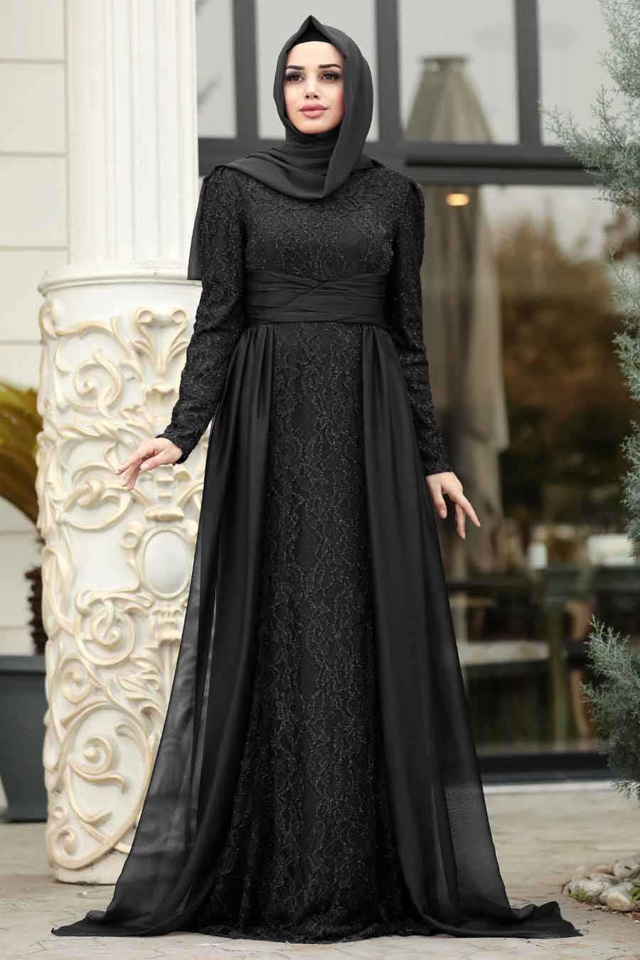 Siyah Tesettür Abiye Elbise 191801S