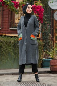 Smoke Color Hijab Cardigan 20103FU - Thumbnail