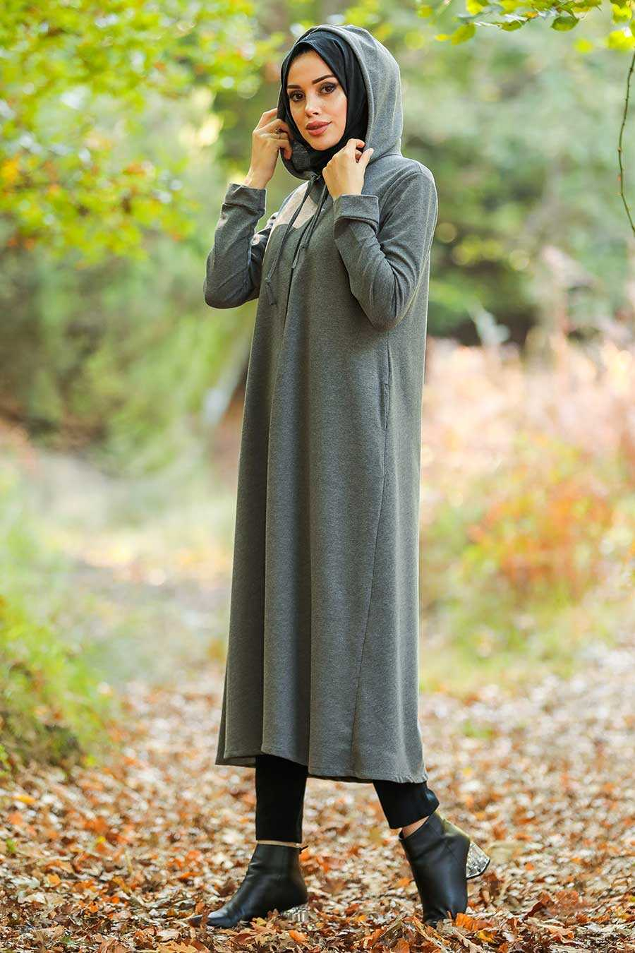 Smoke Color Hijab Coat 22560FU