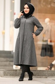 Smoke Color Hijab Coat 40081FU - Thumbnail