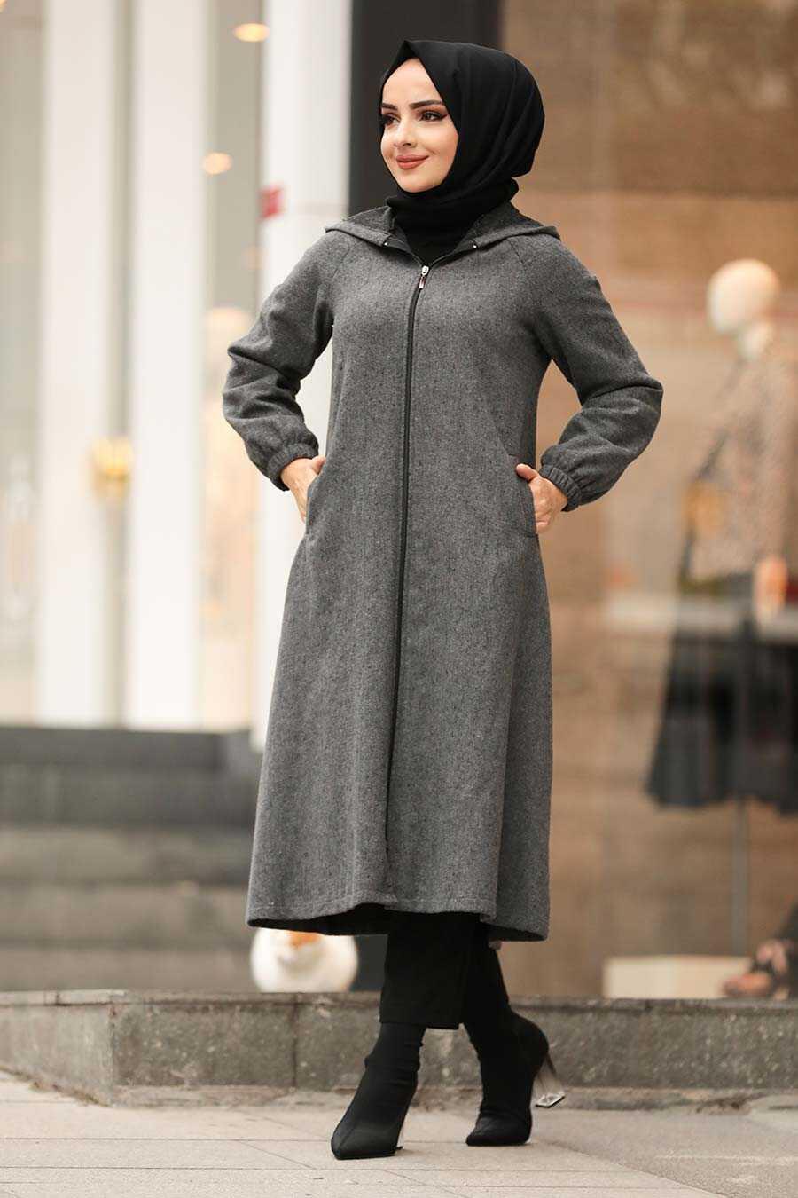 Smoke Color Hijab Coat 40081FU