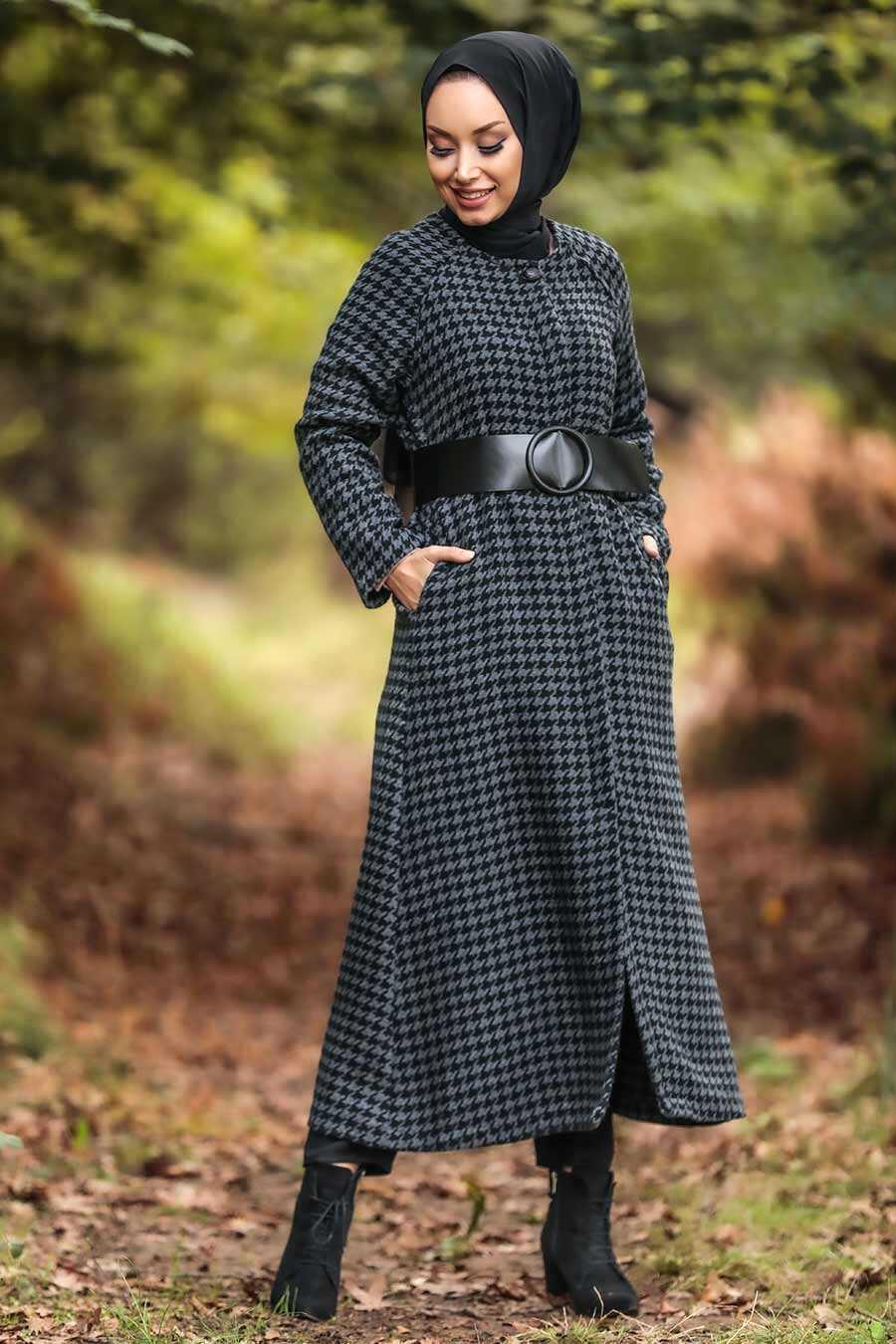Smoke Color Hijab Coat 5510FU