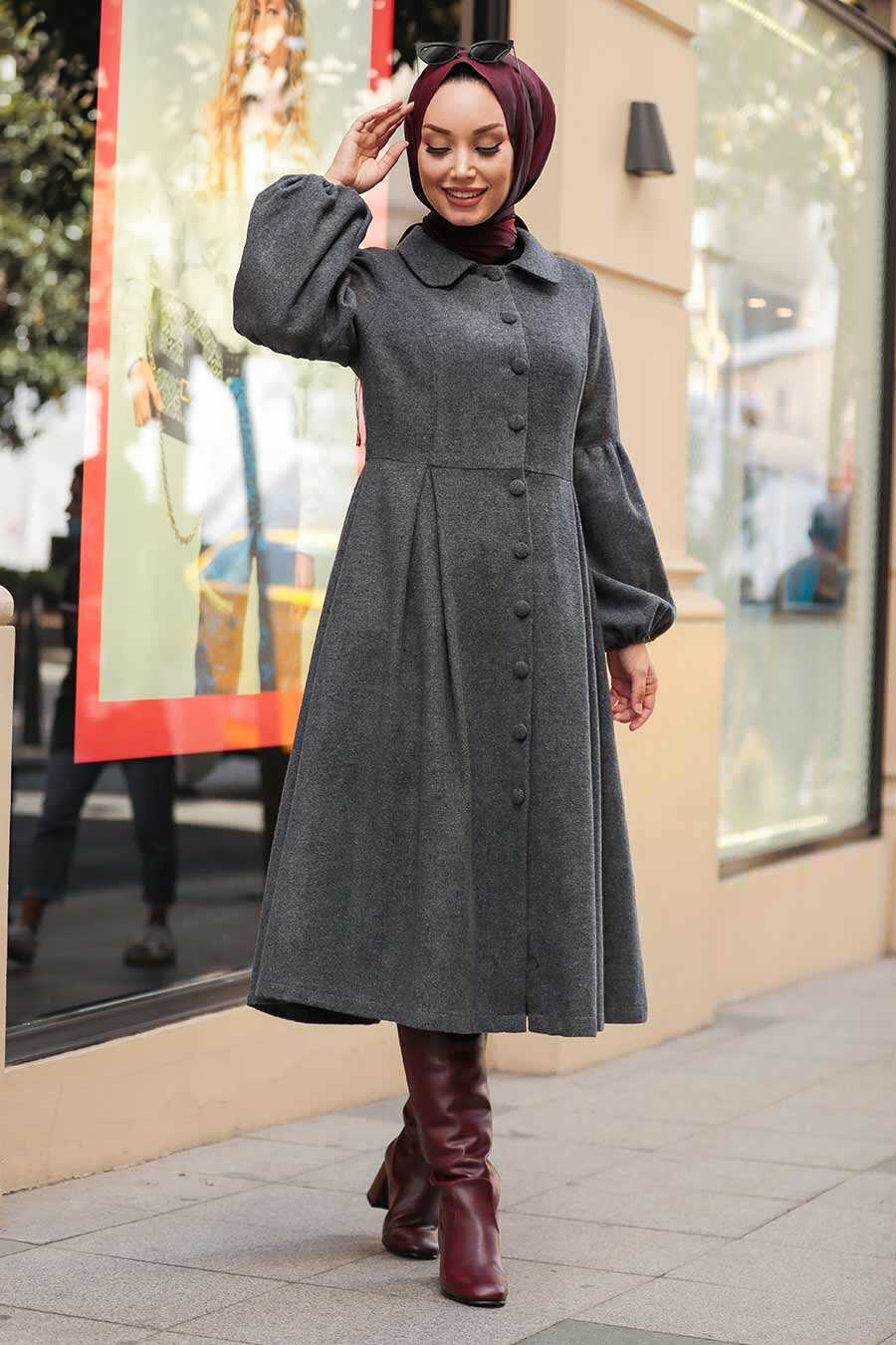 Smoke Color Hijab Coat 9078FU