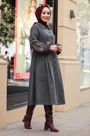 Smoke Color Hijab Coat 9078FU - Thumbnail