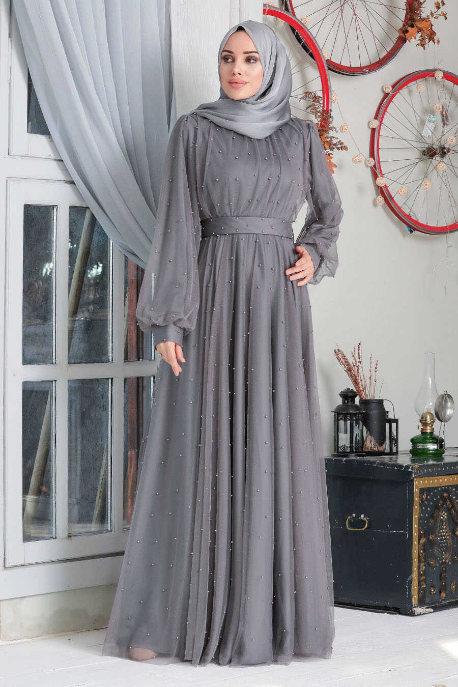 Smoke Color Hijab Evening Dress 50080FU