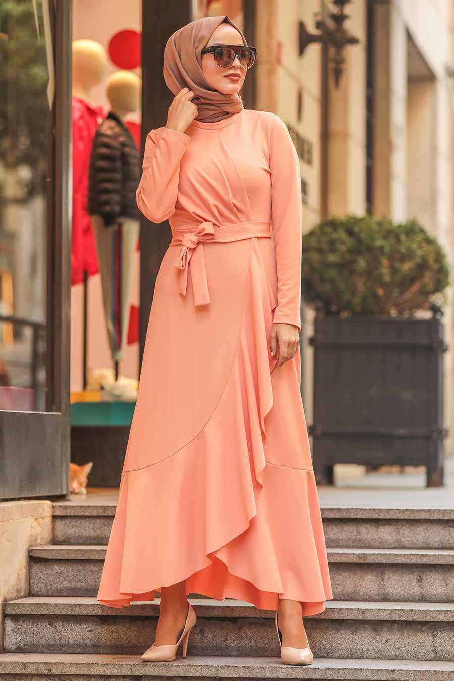 Somon Tesettür Çapraz Elbise 4041SMN