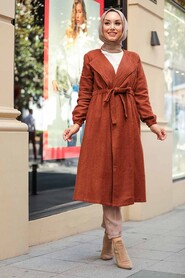 Sunuff Colored Hijab Coat 5168TB - Thumbnail