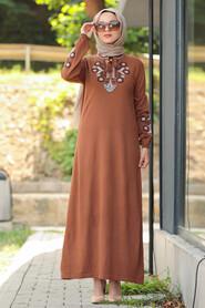 Sunuff Colored Hijab Dress 23120TB - Thumbnail
