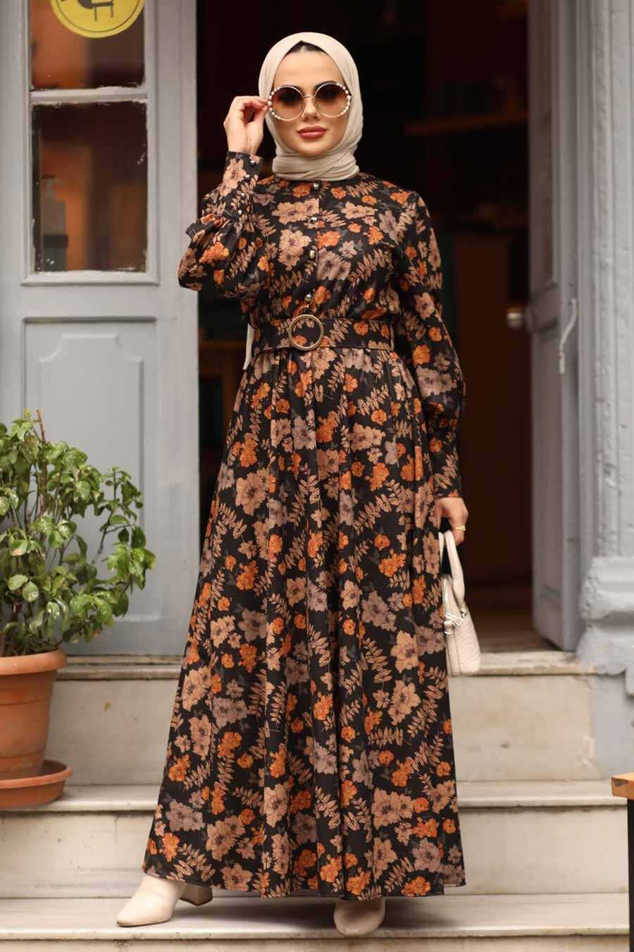 Sunuff Colored Hijab Dress 44670TB