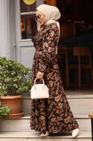 Sunuff Colored Hijab Dress 44670TB - Thumbnail