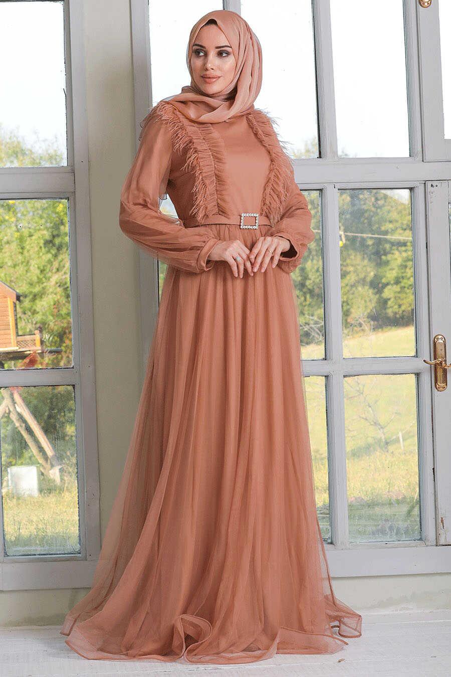 Sunuff Colored Hijab Evening Dress 34801TB