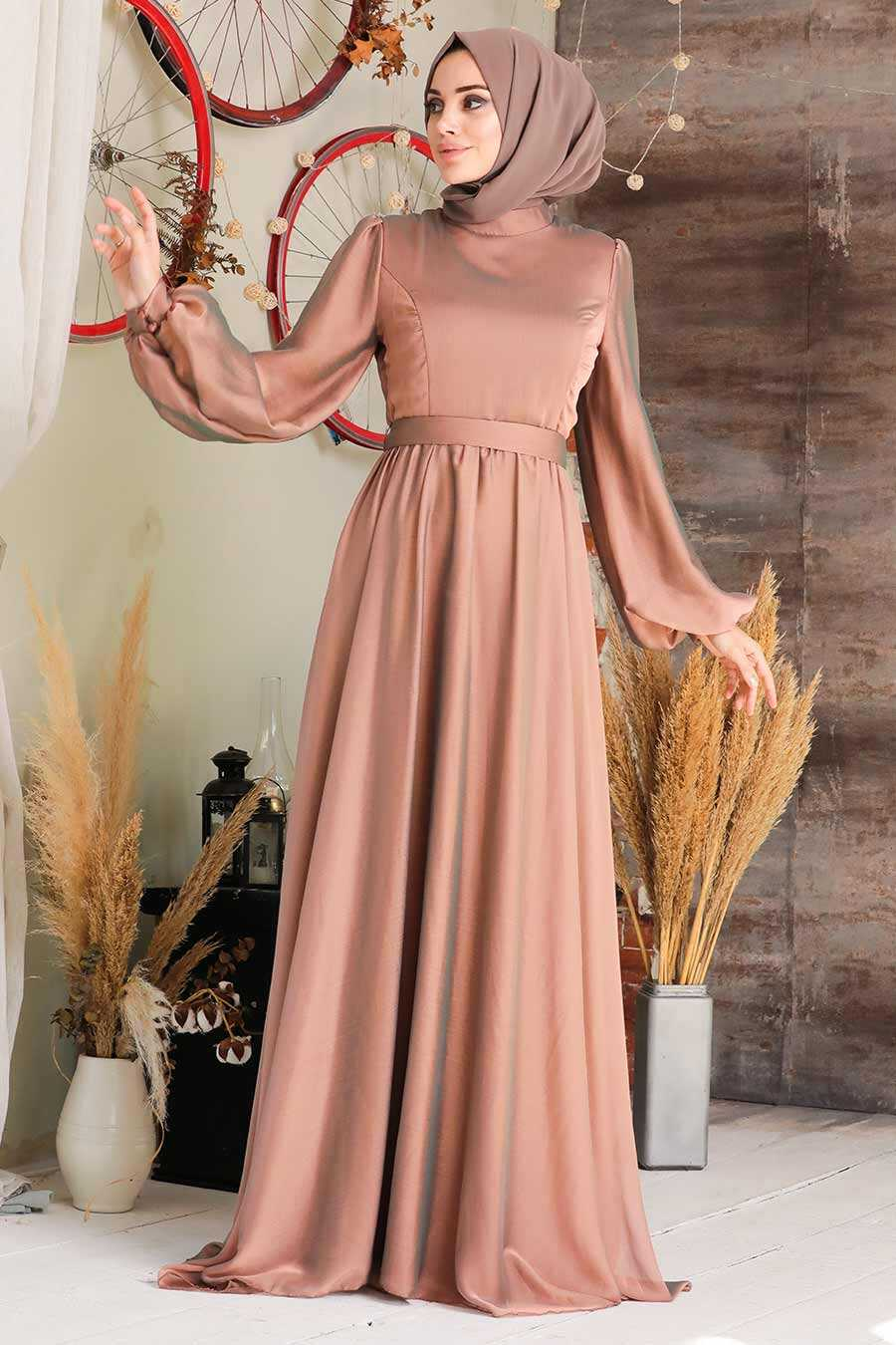 Sunuff Colored Hijab Evening Dress 5215TB