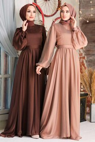 Sunuff Colored Hijab Evening Dress 5215TB - Thumbnail