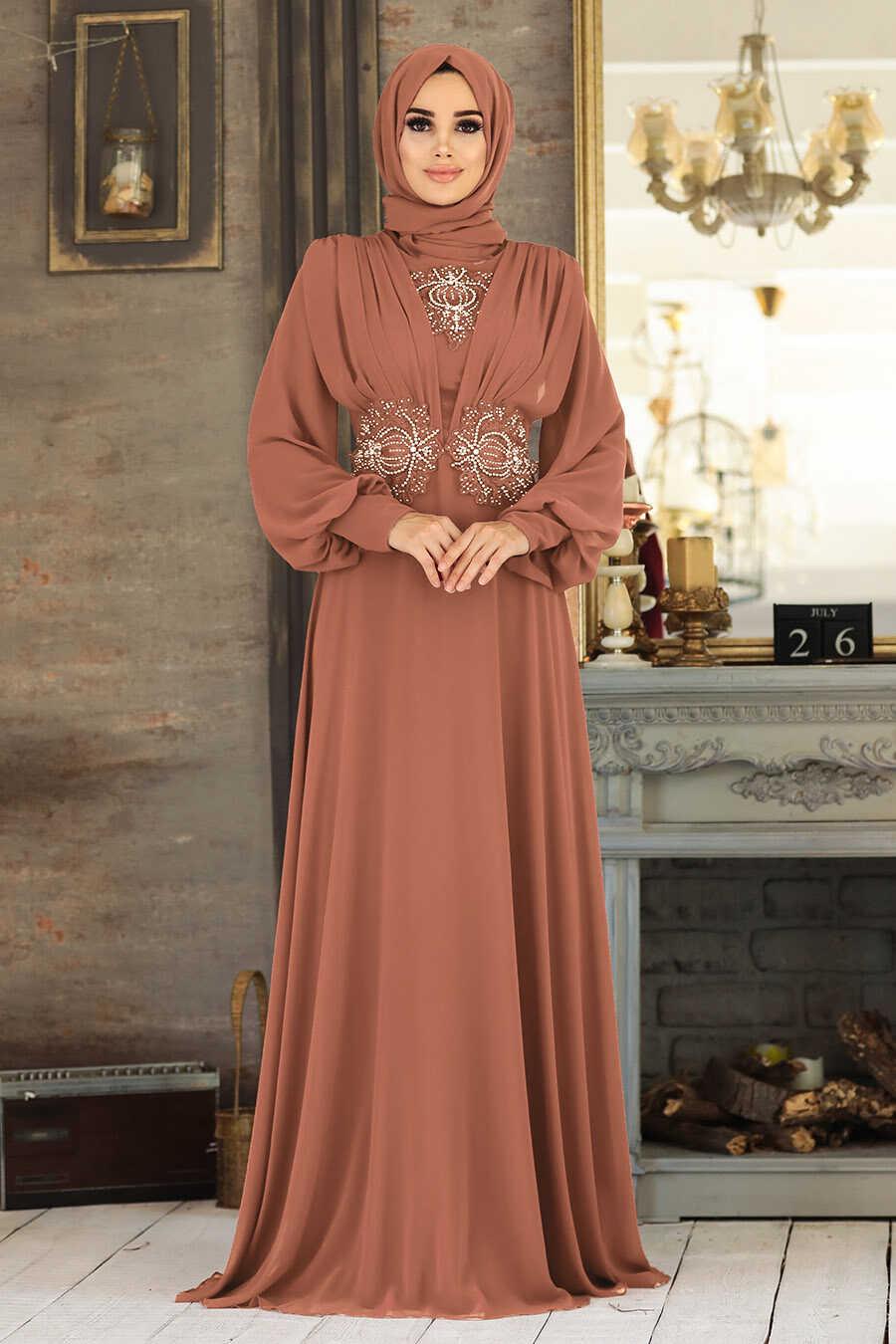 Sunuff Colored Hijab Evening Dress 9118TB