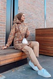 Sunuff Colored Hijab Suit 8041TB - Thumbnail