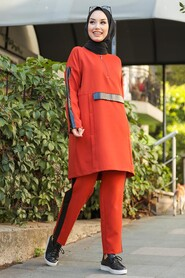 Terra Cotta Hijab Casual Suit 1297KRMT - Thumbnail