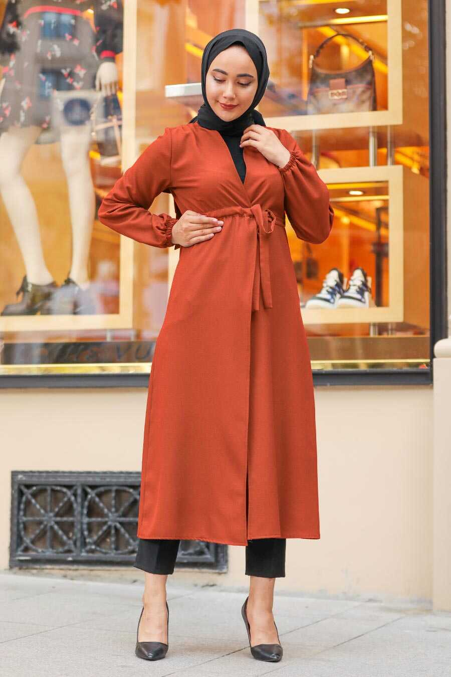 Terra Cotta Hijab Coat 37450KRMT