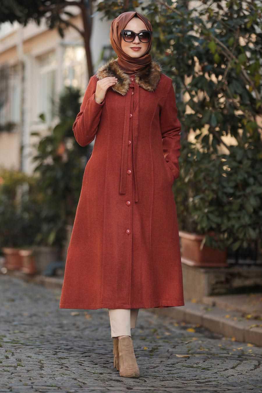 Terra Cotta Hijab Coat 50840KRMT