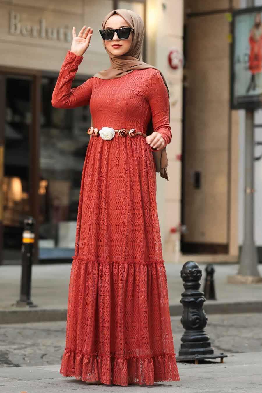 Terra Cotta Hijab Dress 1390KRMT