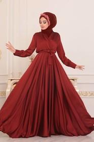 Terra Cotta Hijab Evening Dress 1418KRMT - Thumbnail