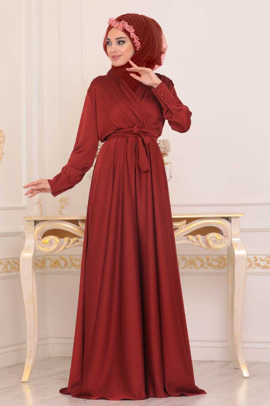 Terra Cotta Hijab Evening Dress 1418KRMT