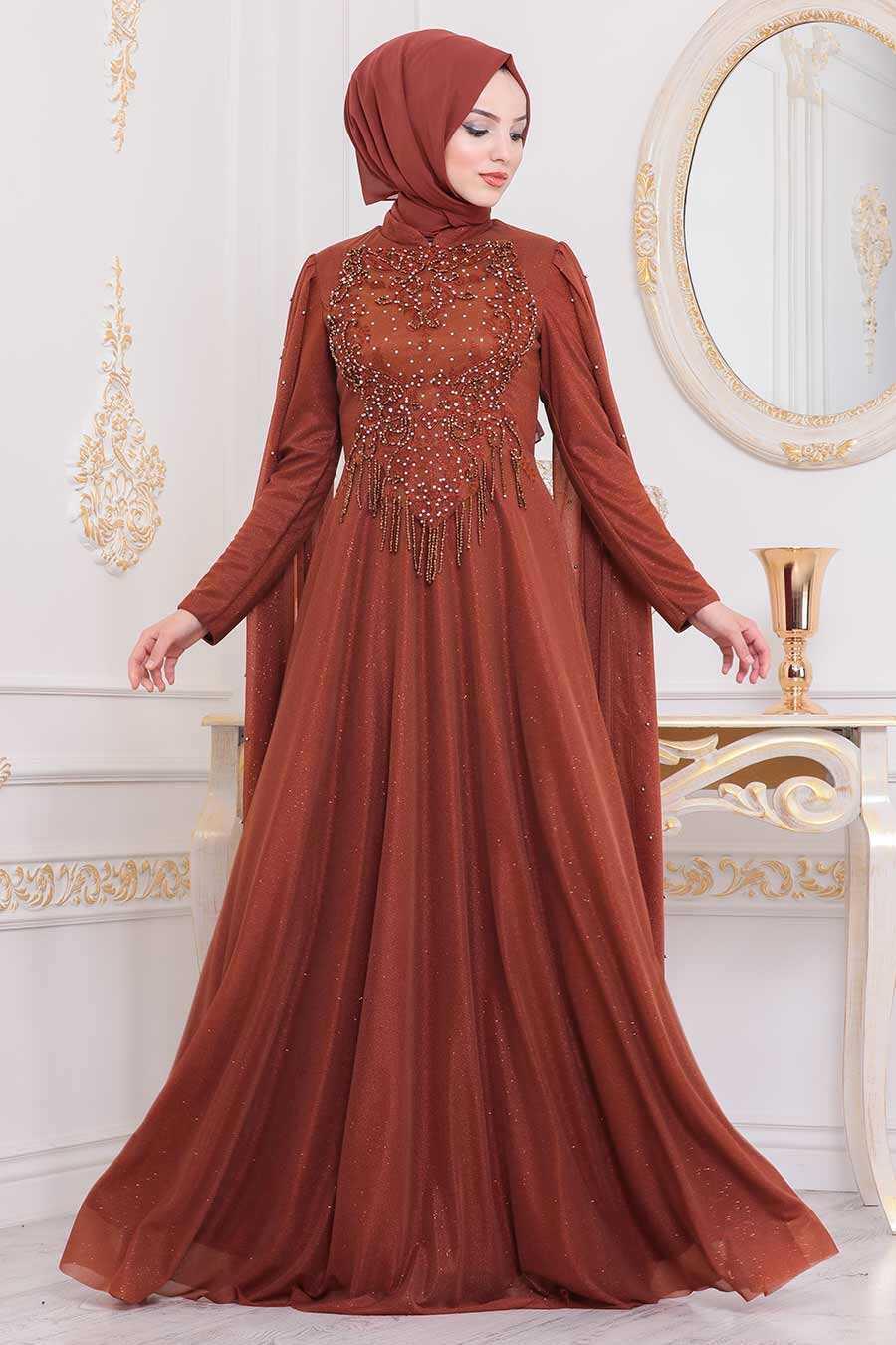 Terra Cotta Hijab Evening Dress 2177KRMT