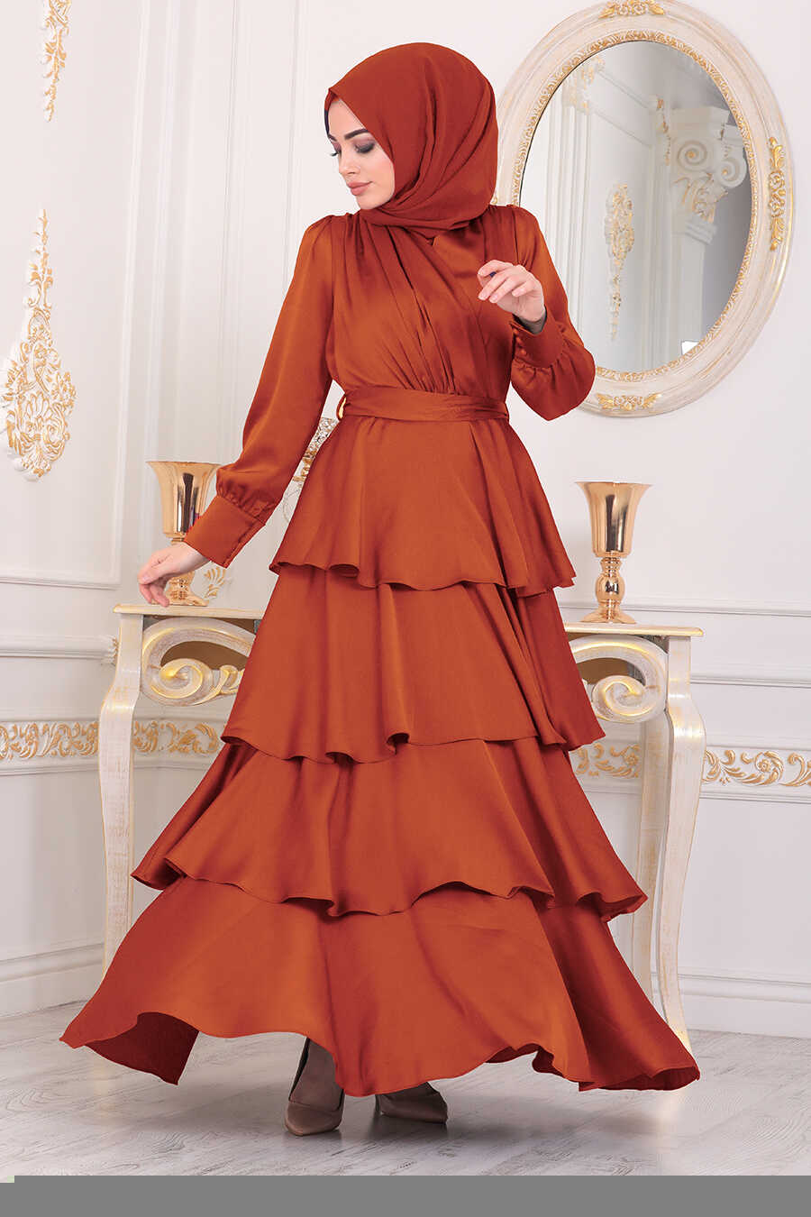 Terra Cotta Hijab Evening Dress 22701KRMT